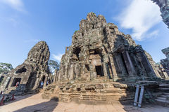 Towers and upper terrace of Prasat Bayon  temple Royalty Free Stock Photos