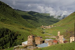 Towers in Ushguli, Upper Svaneti, Georgia. Architectural monuments of Upper Svanetia are included in a list of UNESCO World Heritage Sites Royalty Free Stock Image