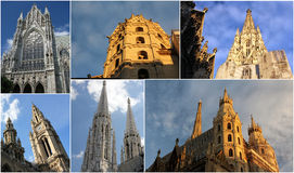 Towers in Vienna. (St. Stephen's Cathedral, Votive Church Stock Image