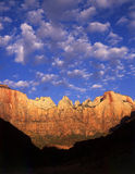 The Towers of the Virgin (V). The formation called The Towers of the Virgin in Zion National Park located in southwest Utah stock image