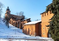 The towers and wall of the Nizhny Novgorod Kremlin Royalty Free Stock Photo