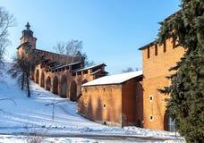 The towers and wall of the Nizhny Novgorod Kremlin royalty free stock photo
