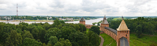 Towers and wall of old Russian fortress Royalty Free Stock Photography