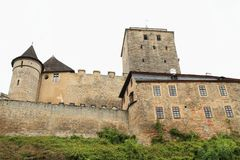 Towers and walls of castle Kost. Defend towers and walls of Gothic castle Kost in Czech Republic Stock Photos