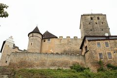 Towers and walls of castle Kost. Defend towers and walls of Gothic castle Kost in Czech Republic Royalty Free Stock Photography