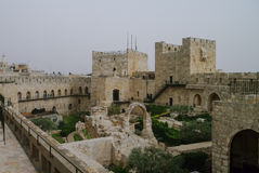 Towers and walls of Jerusalem citadel and Tower of David  in san Stock Images
