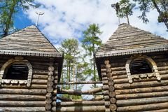 Towers of a watchtower wooden house Stock Image