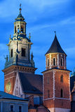Towers of the Wawel Royal Cathedral in Krakow by Night Royalty Free Stock Image