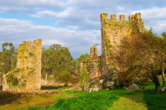Towers of the west. Catoira, Pontevedra, Spain. Ruins of two defensive towers at the mouth of Ulla river Stock Photos