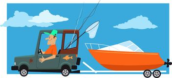 Towing a boat. Man going fishing, towing a motor boat on a trailer behind a car, EPS 8 vector illustration royalty free illustration