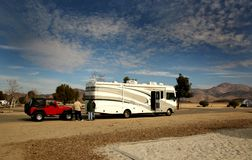 Towing and Camping Royalty Free Stock Photo