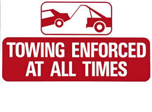 Towing Enforced. Isolated towing zone sign, fill colored royalty free stock photography