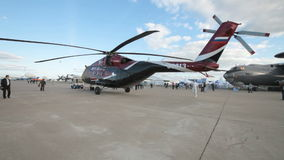 Towing helicopter runway stock footage
