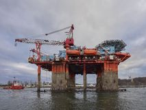 Towing Oil Rig in the Port of Gdansk, Poland. Stock Photography
