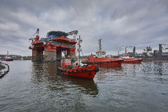 Towing Oil Rig in the Port of Gdansk, Poland. Stock Photos