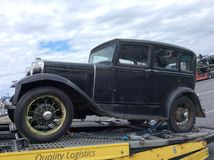 Towing an old car. Old car is immobile vehicle towing stock photography