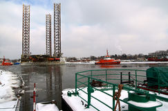 Towing platform. On 21-02-2011 r drilling platform was introduced in the Gdansk Repair Shipyard Royalty Free Stock Image