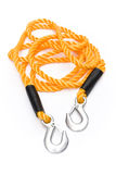 Towing rope. Yellow with metal hooks on a white background royalty free stock image