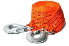 Towing Rope. Macro of towing rope isolated on white background royalty free stock photos