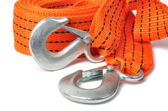 Towing Rope. Macro of towing rope isolated on white background royalty free stock photography