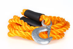Towing rope. With hooks on white stock photo