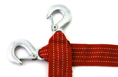 Towing rope. With hooks isolated royalty free stock images