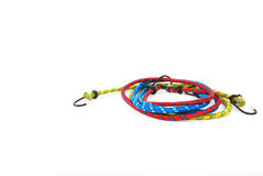 Towing ropes with metal hook. On white background stock photography