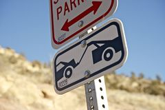 Towing Sign. Closeup. No Parking Zone stock photography