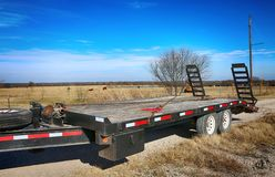 Towing track. Close up of heavy duty towing track at Texas farm stock photo