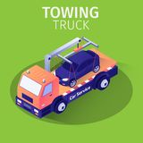 Towing Truck Assistance Service for Car Evacuation. Towing Truck Assistance and Emergency Service for Car Evacuation. Isometric Banner with Evacuator Transports stock illustration
