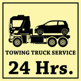 Towing truck vector icon and 24 Hrs Royalty Free Stock Image