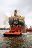 Towing the vessel tanker Royalty Free Stock Photo