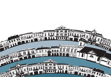 Town 04. Little round town with circular streets Stock Illustration