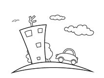 Town. Illustration of a city with the house, car, a tree and more Royalty Free Stock Images