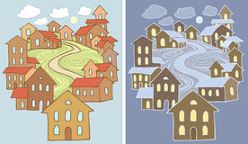 Town. Stylized vector illustrations of town landscape with lots of houses in two variants - day and night Royalty Free Stock Images