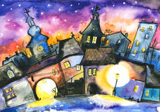 Town. Small town at night.Picture I have created with watercolors Royalty Free Stock Photography