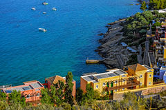 Town of Agios Nikolaos and the Mirabello Bay. Crete. High point view of the picturesque town of Agios Nikolaos and the Mirabello Bay. Crete, Greece Stock Photos
