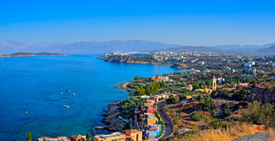 Town of Agios Nikolaos and the Mirabello Bay. Crete. Panoramic high point view of the picturesque town of Agios Nikolaos and the Mirabello Bay. Crete, Greece Royalty Free Stock Photo