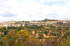 Town of Agrigento viewed from the Valley of Temples, Sicily, Italy Stock Photos