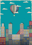 Town and air balloon. Vector illustration in retro style Stock Photo