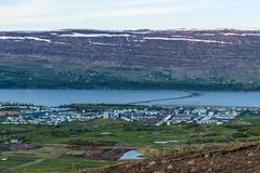 Town of Akureyri in Iceland. On a summer evening Royalty Free Stock Photo