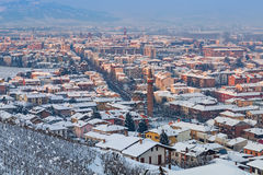 Town of Alba covered with snow. Stock Photos
