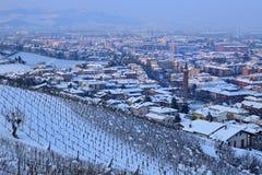 Town of Alba at evening. Piedmont, Italy. Stock Photos