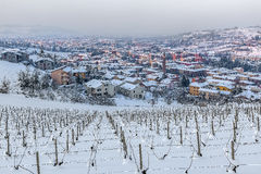 Town of Alba among wintry hills. Stock Image