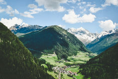 Town in alpine valley Royalty Free Stock Image