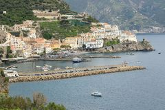 Close-up view of the town and port of Amalfi, Italy royalty free stock image