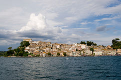 Town of Anguillara Sabazia on Bracciano Lake. Anguillara Sabazia is an ancient city that overlooks the lake not far from Rome stock photo