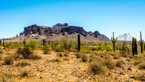The town of Apache Junction at the foot of Superstition Mountain Stock Photography