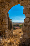 Town through Arc. Mota del Marques town through an arc of its ruined church Stock Photos
