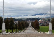 Town of Asiago with clouds from the WAR MEMORIAL Royalty Free Stock Photography